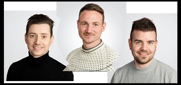 Sammensetting av tre portrettbilder av suppler-ansatte